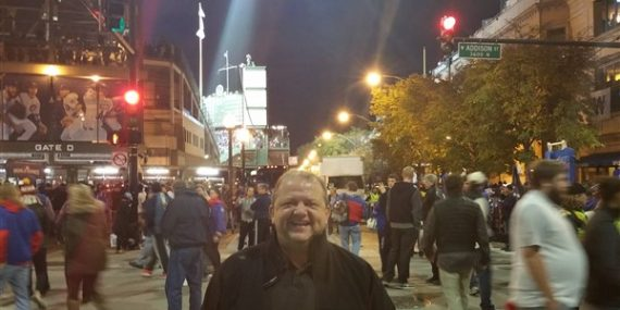Mark the Ticket Guy in front of Wrigley Field during the 2016 World Series
