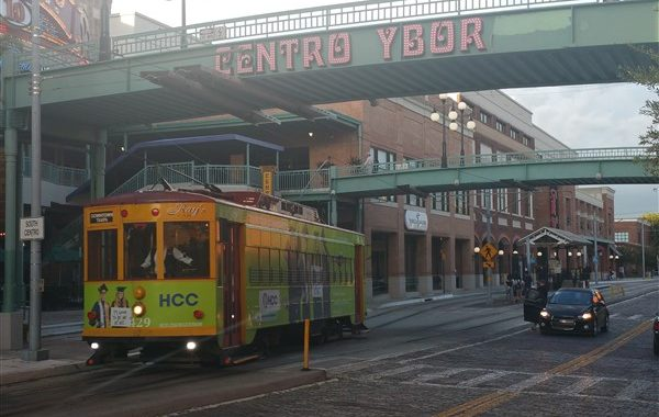 TECO Line Streetcar leaving a stop in Ybor City Tampa