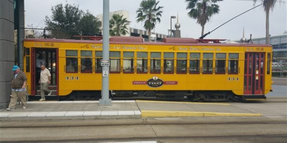 People getting off a streetcar in downtown Tampa, Florida